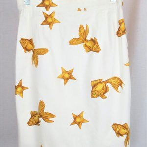 Escada Cotton Skirt with Gold Fish Stars Size 38